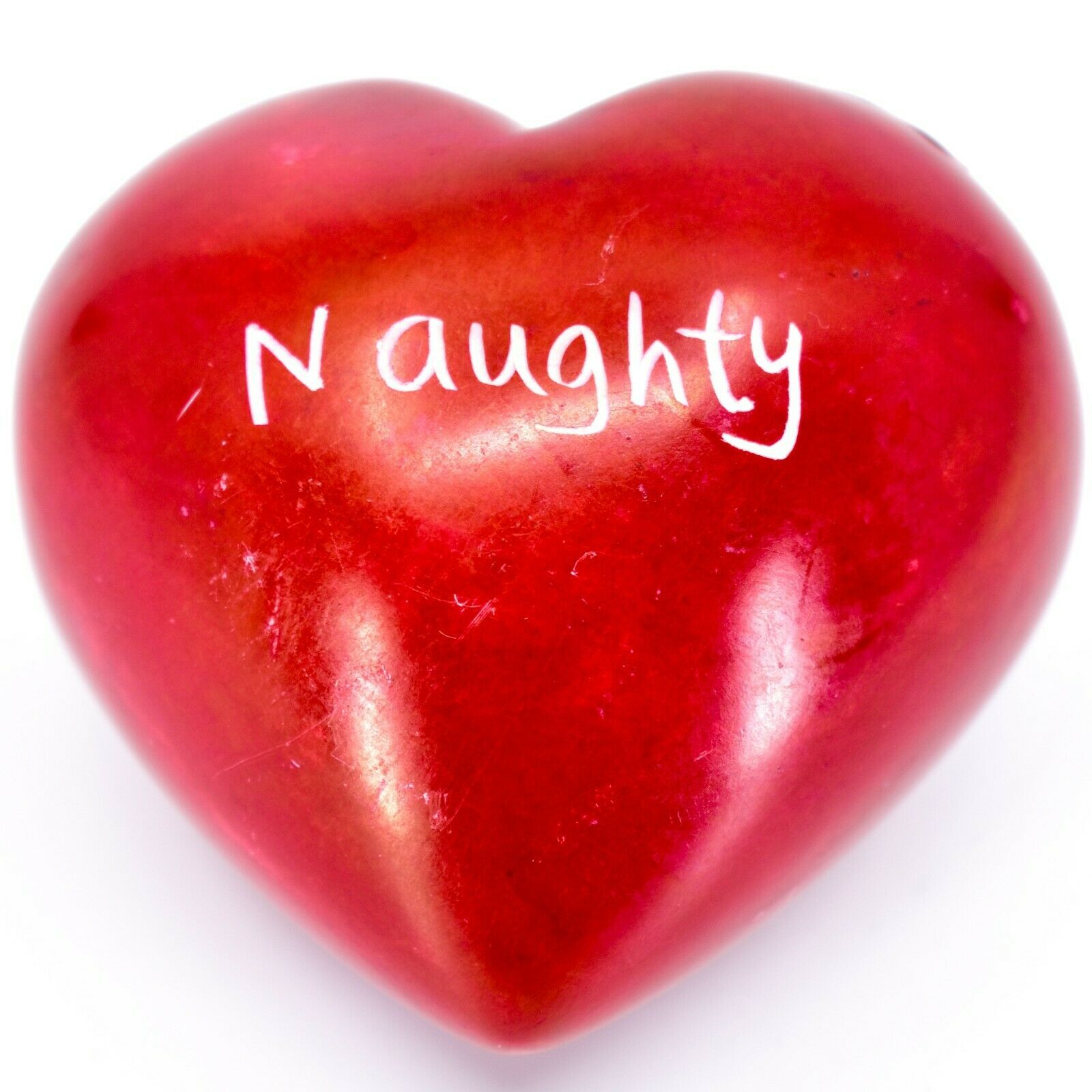 Vaneal Group Hand Carved Soapstone Naughty/Nice 2-Sided Red Heart Paperweight