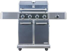Grill 754 sq. in. Propane Fuel 4-Burner Enclosed Cabinet Side Burner Grey - £941.95 GBP