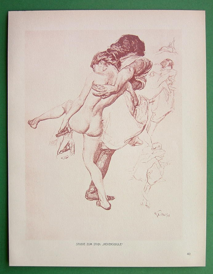 NUDE Study for School of Witches by Otto Greiner - 1912 Lichtdruck Print #40