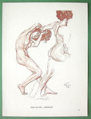 NUDE Study for School of Witches by Otto Greiner - 1912 Lichtdruck Print #43