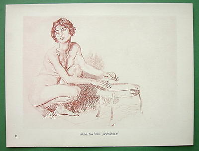 NUDE Study for School of Witches by Otto Greiner - 1912 Lichtdruck Print #44