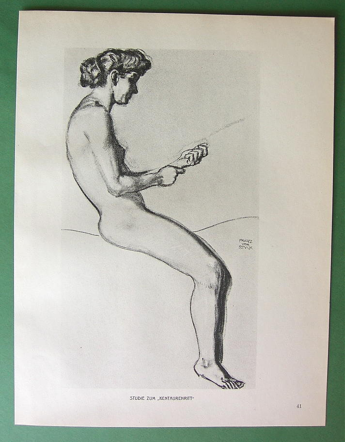 NUDE Woman Riding Centaur by Otto Greiner - 1912 Lichtdruck Print
