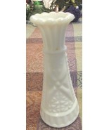 Vintage Diamond Cut White Milk Glass Delicate Bud Vase - $8.99