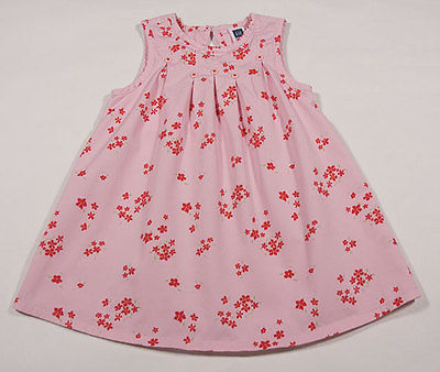 BABY GAP GIRLS SIZE 2T DRESS PINK FLORAL CHERRY RED SPRING  FLOWER BLOSSOMS
