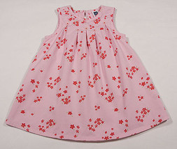 BABY GAP GIRLS SIZE 2T DRESS PINK FLORAL CHERRY RED SPRING  FLOWER BLOSSOMS - $12.61