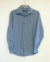 Alfani men's dress shirt size S blue striped long sleeve button front - $4.00