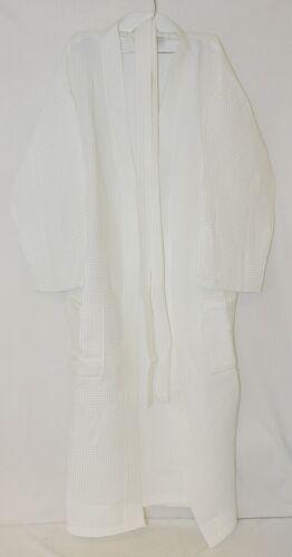 Mirko Long Bath Robe Waffle Weave  One Size White Cotton Blend