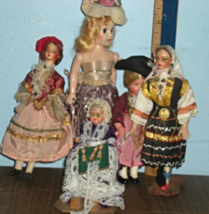 Dolls -Five Vintage International Dressed Dolls - $9.95