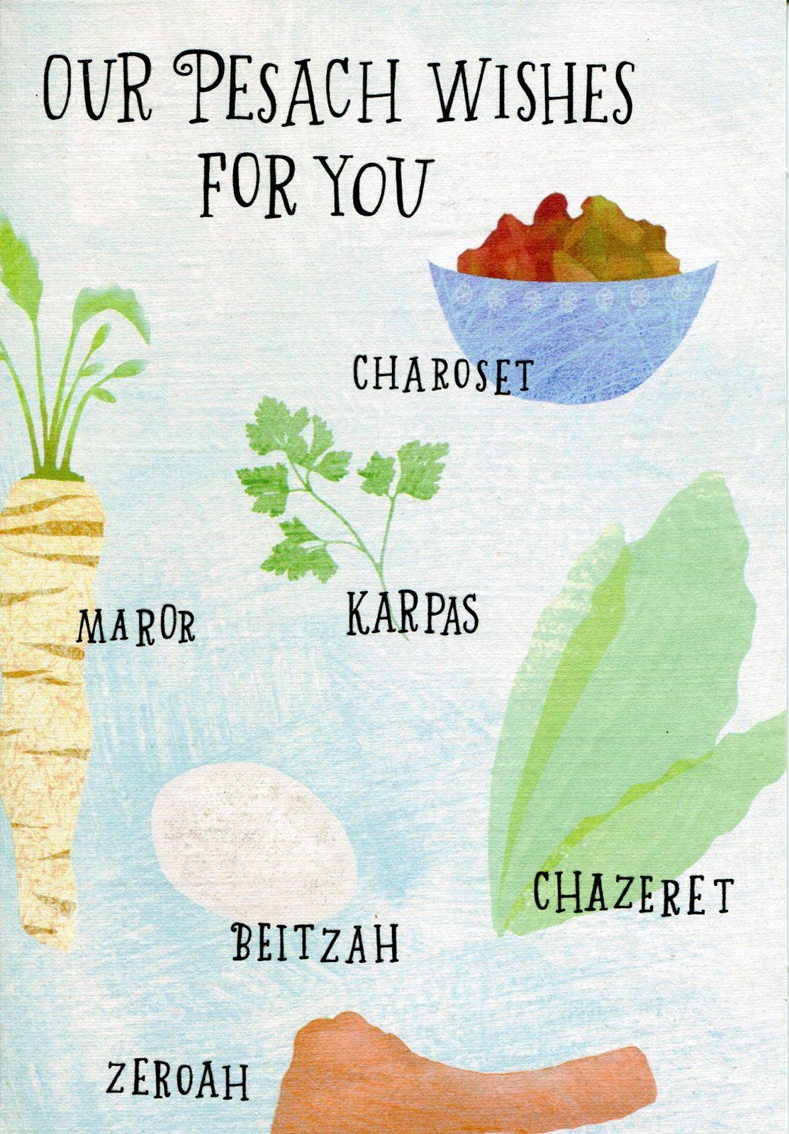 "(1) One Greeting Card Passover ""Our Pesach Wishes For You"""