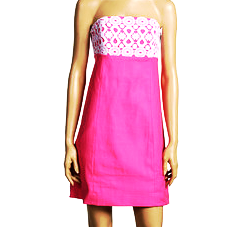 1e1576151a64e0 NEW SZ 6 LILLY PULITZER BOWEN HOT PINK WHITE CROCHET STRAPLESS SHEATH DRESS