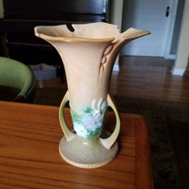 Vintage Roseville Pottery Cosmos Tan Vase 949-7 has damage to lip, see p... - $28.98