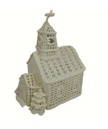 """Vintage Hand Crocheted Church White with Trees Steeple Bell Starched 11"""" - $29.69"""