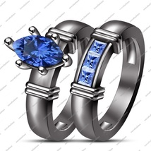 14K Black Fn.925 Silver Marquise Cut Blue Sapphire Wedding Bridal Ring Set - £59.85 GBP