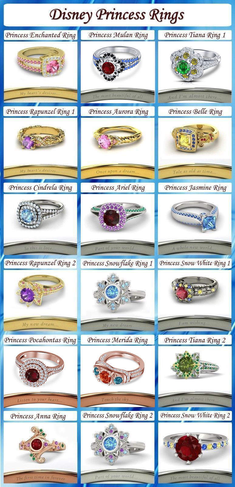 Image of .925 Sterling Silver Multi-Color CZ Disney Princess Engagement & Wedding Ring