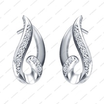 White Gold Plated 925 Sterling Silver Round Cut White CZ Fancy Stud Earr... - $15.66