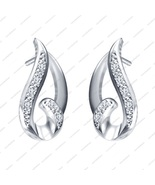 White Gold Plated 925 Sterling Silver Round Cut White CZ Fancy Stud Earr... - £11.90 GBP