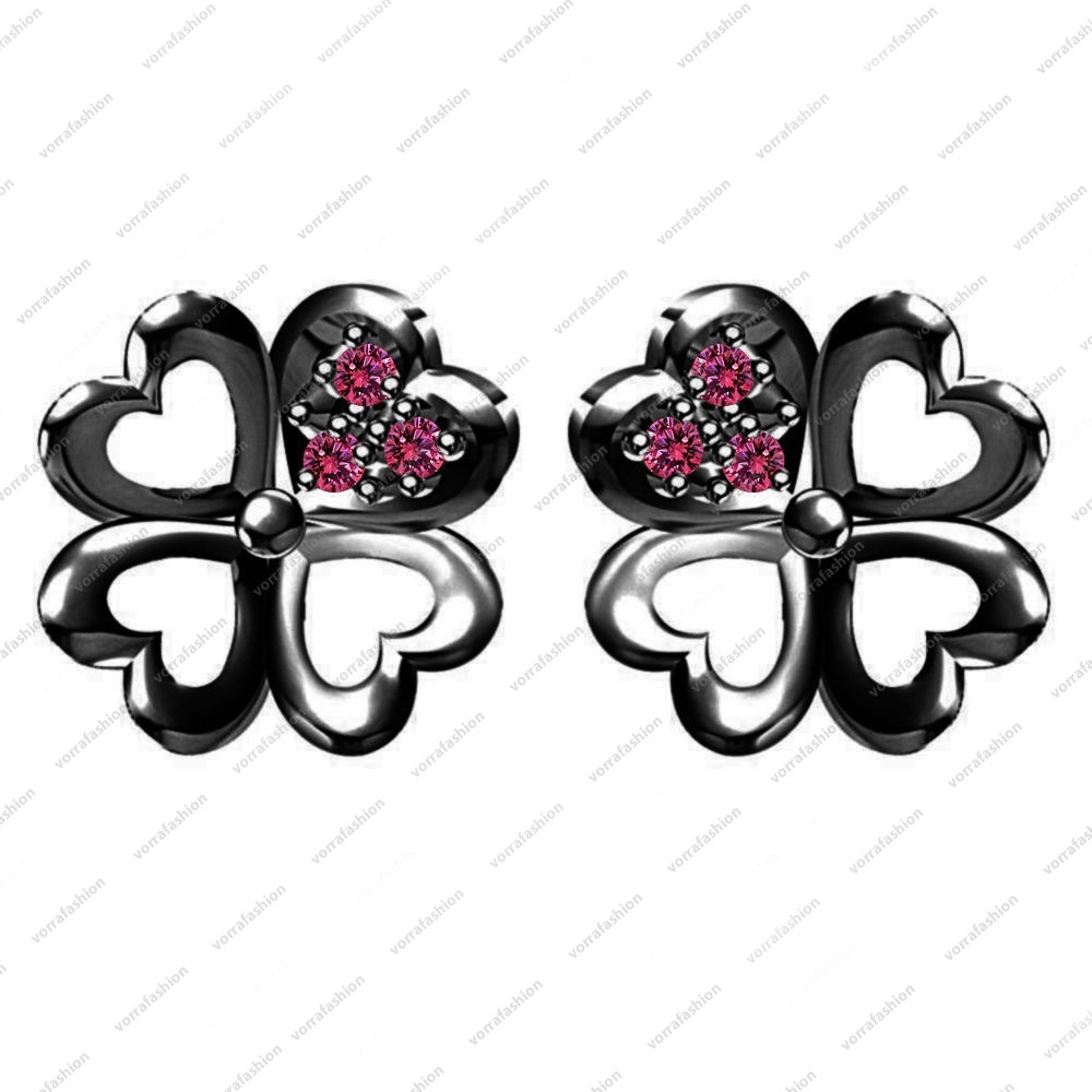Primary image for Black Rhodium Fn. 925 Sterling Silver Pink Sapphire Elegant Flower Stud Earrings