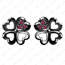Black Rhodium Fn. 925 Sterling Silver Pink Sapphire Elegant Flower Stud Earrings - £31.30 GBP