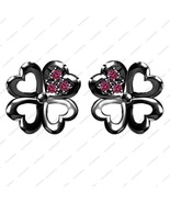 Black Rhodium Fn. 925 Sterling Silver Pink Sapphire Elegant Flower Stud ... - £28.55 GBP
