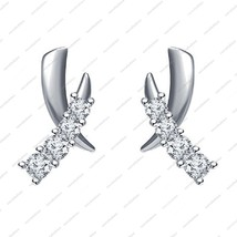 White Platinum Plated 925 Sterling Silver Round CZ Beautiful Stud Style Earrings - £26.48 GBP