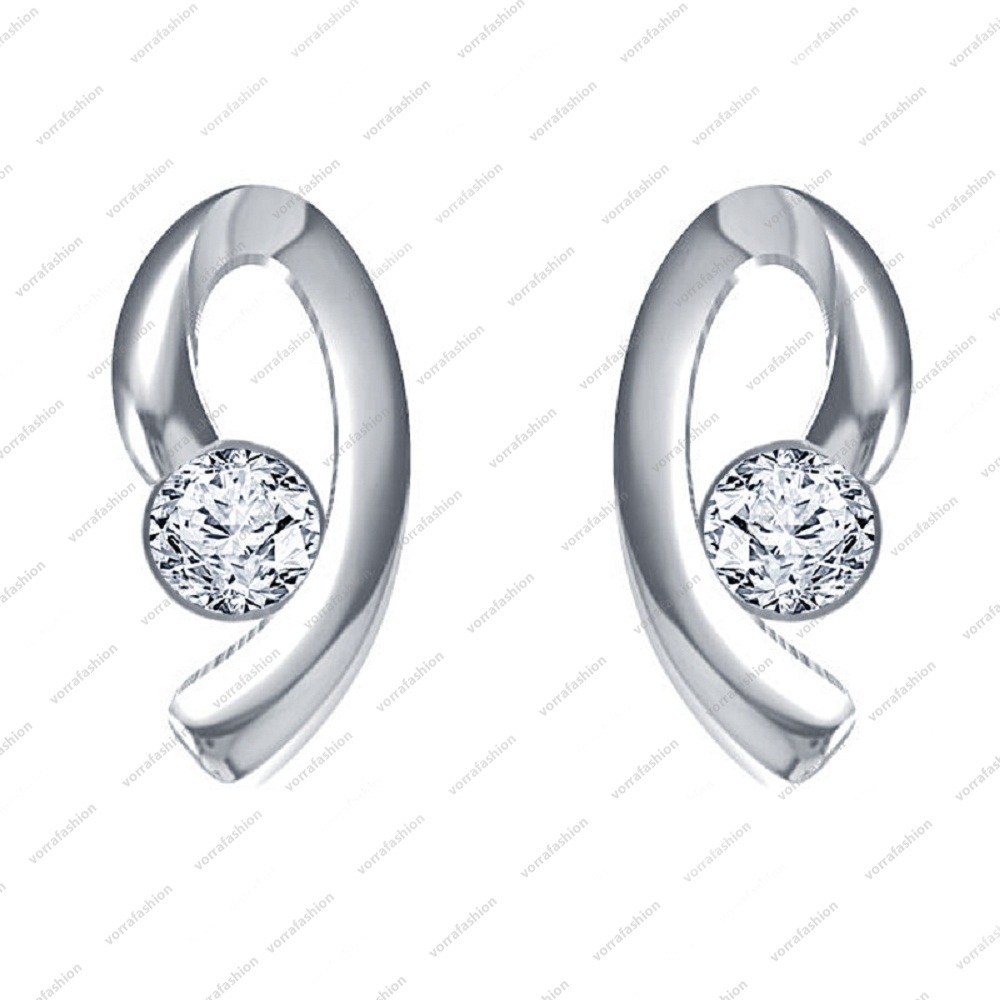 Primary image for 925 Sterling Silver White Platinum Plated Round Cut CZ Lovely Solitaire Earrings