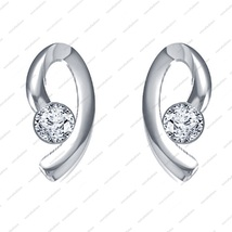 925 Sterling Silver White Platinum Plated Round Cut CZ Lovely Solitaire Earrings - £12.08 GBP