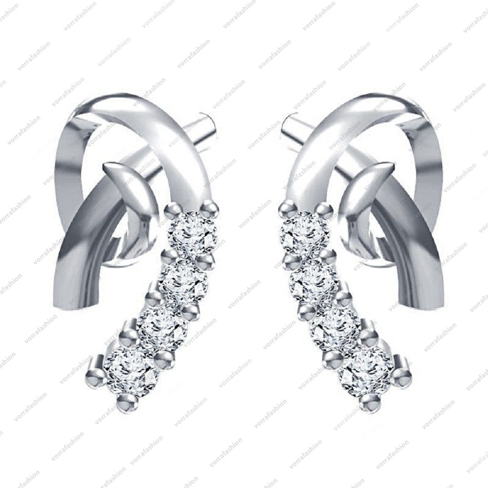Primary image for Platinum Plated 925 Sterling Silver White CZ Round Cut Fashion Stud Earrings