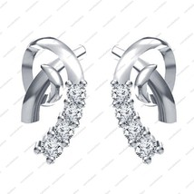 Platinum Plated 925 Sterling Silver White CZ Round Cut Fashion Stud Earrings - £25.90 GBP