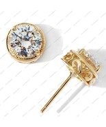 14K Gold 925 Silver Coin-Textured Epiphany Diamonique Stdus Earrings - £9.87 GBP