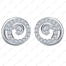 925 Silver in White Platinum Plated Round Cut CZ Beautiful Fancy Earring - £12.08 GBP