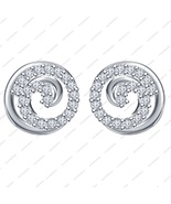 925 Silver in White Platinum Plated Round Cut CZ Beautiful Fancy Earring - £11.90 GBP