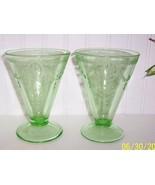 Set 2 Belmont Tumbler Green Depression Glass Ro... - $19.79