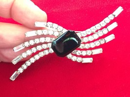 Vintage 80's to More Mod Deco Design Clear Rhinestones & Black Lucite Br... - $21.28