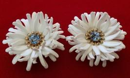 Vintage 1960's White Plastic Flowers Light Sapphire Rhinestone Clip On E... - $21.28