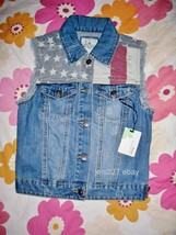 Papaya American Flag Distressed Denim Vest S - $17.10