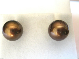 14k Yellow Gold Chocolate Brown Color Tahitian Pearl Earrings Studs 9mm - $249.99