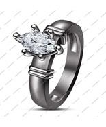 14k Black Fn. 925 Silver Women's Marquise Cut White Sim Diamond Wedding ... - $70.99