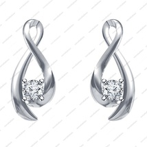 925 Silver White Platinum Plated Round CZ Lovely Solitaire Style Earrings - £12.08 GBP