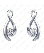 925 Silver White Platinum Plated Round CZ Lovely Solitaire Style Earrings - £11.90 GBP