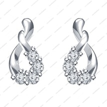 White Platinum Plated 925 Sterling Silver Round CZ Beautiful Fancy Style Earring - £25.45 GBP