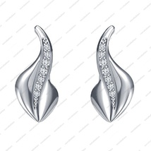 White Platinum Plated in 925 Silver Round cut CZ Very Beautiful Fancy Earrings - £25.45 GBP