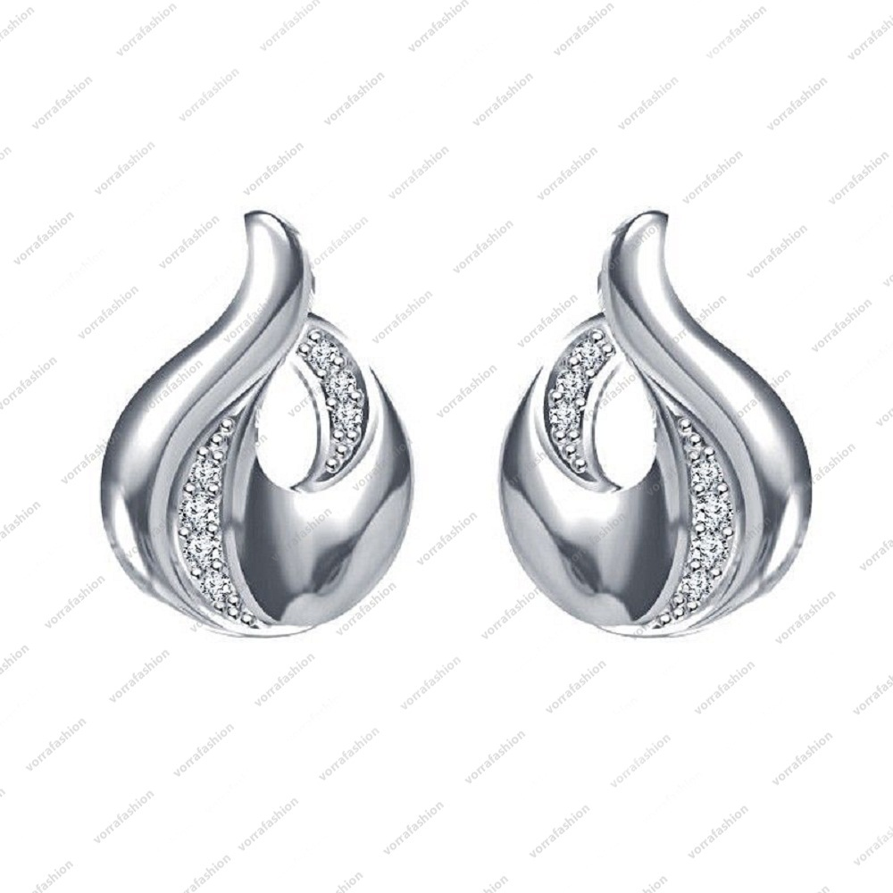 Primary image for White Platinum Plated 925 Sterling Silver Round CZ Beautiful Fancy Style Earring