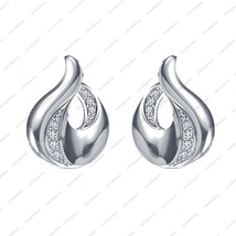 White Platinum Plated 925 Sterling Silver Round CZ Beautiful Fancy Style Earring - £12.08 GBP