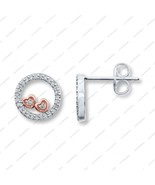 Two Tone .925 Silver White CZ Double Heart Circle Style 1 Pair of Stud E... - £11.90 GBP
