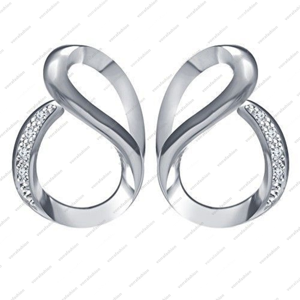 White Platinum Plated Round Shaped CZ in 925 Sterling Silver Fancy Earrings - £27.00 GBP