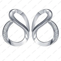 White Platinum Plated Round Shaped CZ in 925 Sterling Silver Fancy Earrings - £27.96 GBP
