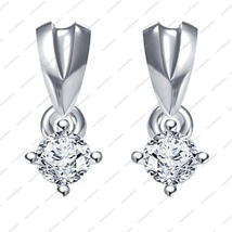 925 Silver White Platinum Plated Round CZ Beautiful Solitaire Style Earrings - £12.03 GBP