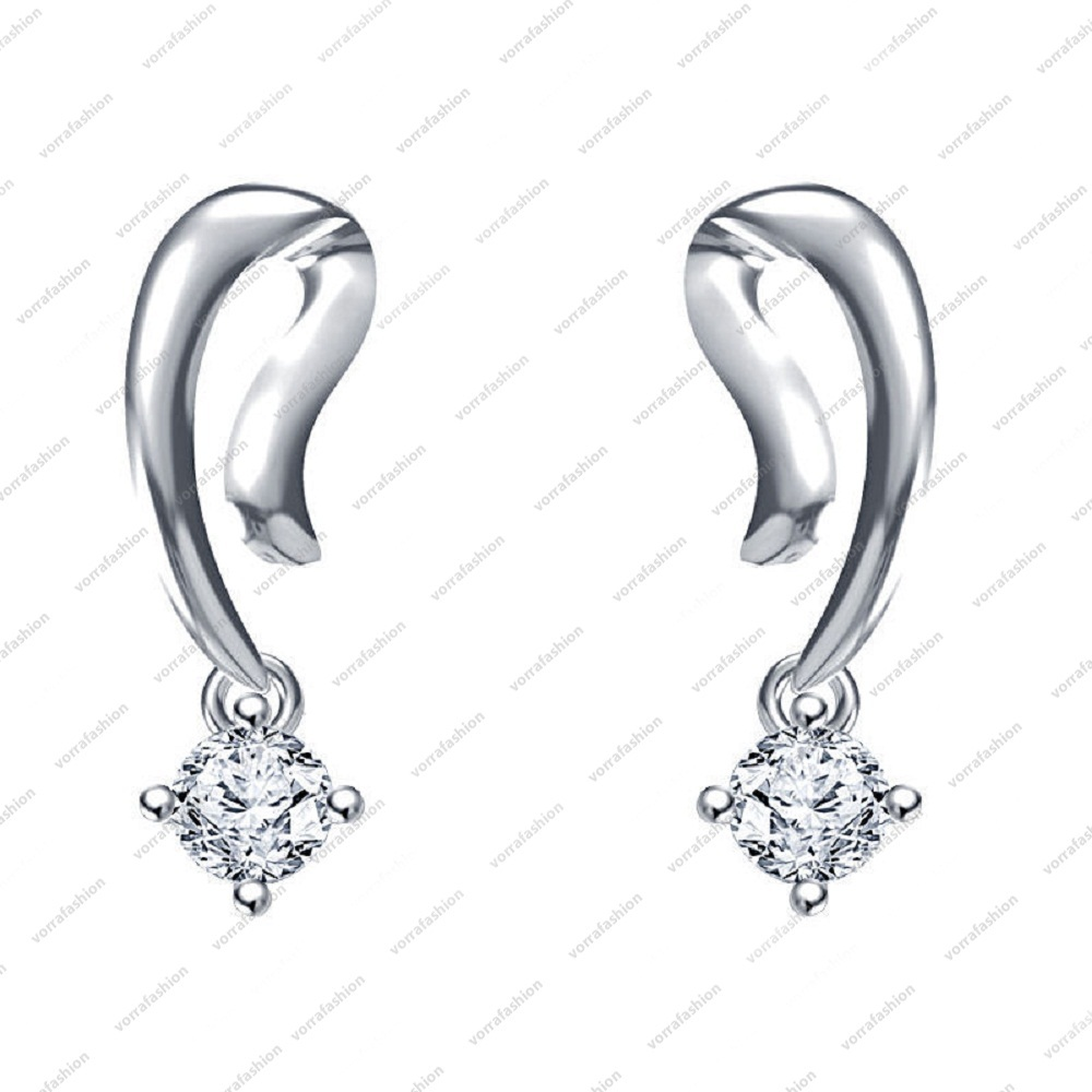 Primary image for White Platinum Plated in 925 Silver Round Cut CZ Lovely Solitaire Fancy Earring