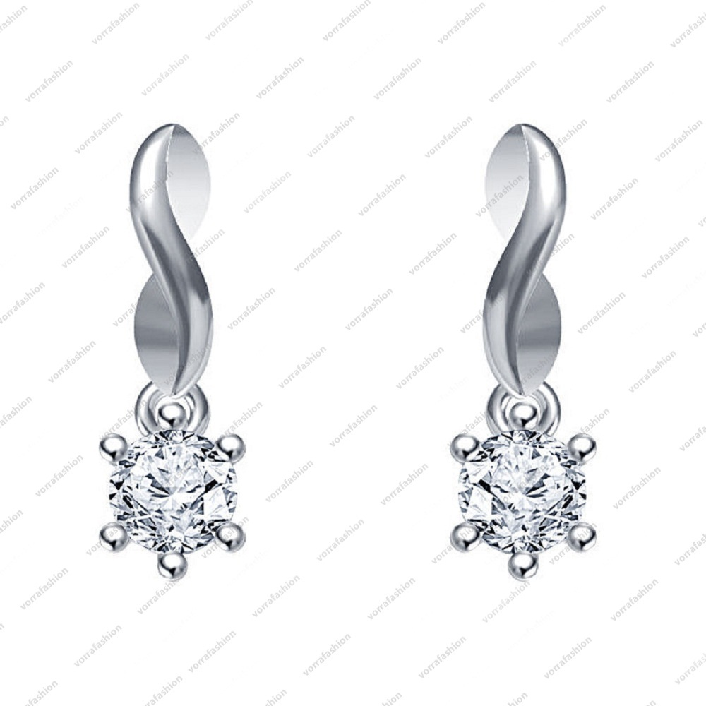 Primary image for  White Platinum over 925 Sterling Silver Round Cut CZ Lovely Solitaire Earring