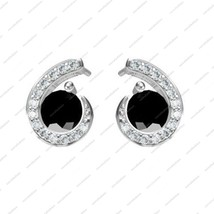 White Gold Plated 925 Silver Ehite & Black CZ Fancy Stud Earrings Gift I... - $119.53